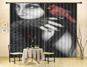 mysterious Red Parrot 3D Curtain Blockout Photo Printing Curtains Drape Fabric
