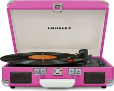 Crosley CR8005D-PI Cruiser Deluxe Portable Record Table 3-Speed Turntable Pink