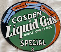 VINTAGE COSDEN SPECIAL GASOLINE PORCELAIN SIGN GAS STATION MOTOR OIL PUMP PLATE