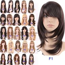 Wigs Synthetic Hair Full Wig Long Hiar Black Brown Blonde Highlight Curly Wavy C