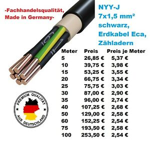 NYY-J 7x1,5 mm² / NYY J 7 1,5 Erdkabel, Starkstromkabel (ab 5 Meter erhältlich)
