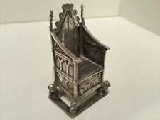 Late Victorian Miniature Solid Sterling Silver Coronation Throne London 1901