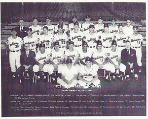 1962 INDIANAPOLIS INDIANS TEAM PICTURE 8 X 10 PHOTO