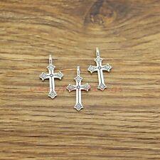50 Cross Charms Religious Faith Christian Charms Antique Silver Tone 12x23 972