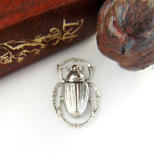 Antique Silver Egyptian Scarab Beetle Stamping Jewelry Oxidized Finding (C-408)