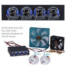 "3.5"" 4 Channel Speed Computer CPU Fan Controller w/ Blue LED GDT Temp Controller"