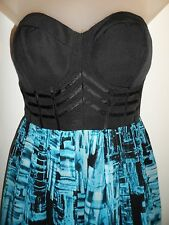 bebe M Dress Bright Turquoise Black Corset Printed Summer Cocktail Party Bubble