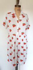 Unique summer watermelon print white babydoll shift dress L