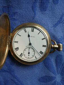 Antique Elgin full hunter pocket watch rose gold filled working