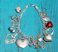 """Vintage Sterling Silver 925 Charm Bracelet """"I LOVE YOU"""" loaded with Charms (22g)"""