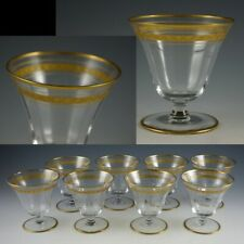 8 Fostoria Cascade Clear Crystal Gold Band Oyster Fruit Cocktail Goblets Glasses