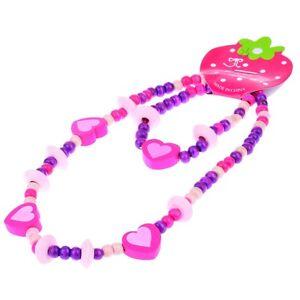 Cute Girls Pink Heart Wood Beads Kids Necklace Bracelet Jewelry Set Gift Newest