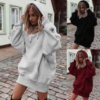Winter Women Casual Loose Hoodie Sweatshirt Dress Hooded Pullover Coat Jumper