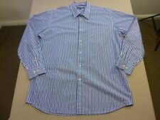 038 MENS NWOT BLAZER WHT / DK SKY BLUE / NAVY STRIPED L/S SHIRT SZE XXL $90 RRP.