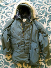 ARMY LANCER Extreme Cold Green TOUGH PARKA N-3B Coat w/ HOOD Faux Fur SIZE LARGE