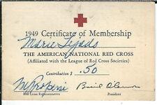 AB-017 - 1949 Membership Card American National Red Cross Vintage