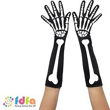 SKELETON PRINT LONG GLOVES - halloween womens mens ladies fancy dress costume