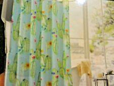 New Southwestern Green Cactus Pink Flowers Blue Fabric Shower Curtain~Desert