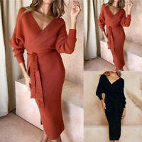 Women Knitted V Neck Jumper Dress Ladies Winter Long Sleeve Bodycon Midi Dresses