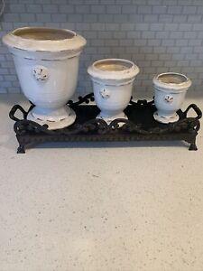 3 Rustic White Ceramic Succulent Planter Pots, Fleur-de-Lis Design