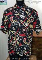 Reyn Spooner Hawaiian Originals VTG Rayon WAIKIKI Beach Party Black Shirt Sz L