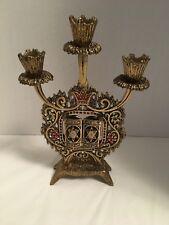 Vintage Shabbath 3 Branch Brass Candle Holder Opening Panels Torah Wainberg