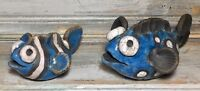 "VTG '90s Raku Art Pottery ""Stripe & Dot"" Black Clay Fish Figurine Signed Set 2"