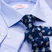 Blue Herringbone Standard Cuff Formal Business Dress Shirt  Exclusive Fashion A+