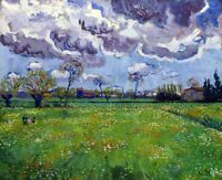 Paysage Sous un Ciel Mouvemente Painting by Vincent van Gogh Art Reproduction