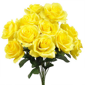 """12 Artificial 4"""" Open Roses Silk Flowers Wedding Bouquets Centerpieces Fake Faux"""