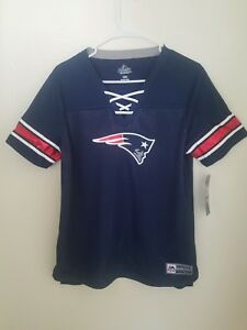 Women's Majestic NFL Blue New England Patriots Lace-Up V-Neck Jersey Shirt NWT