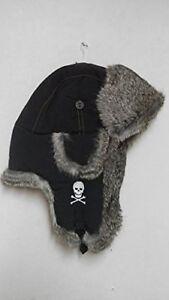 Mad Bomber Skull Bomber Hat (M)- Black/Grey Rabbit