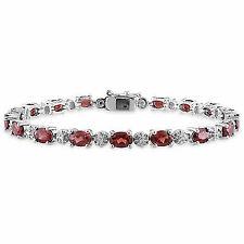Sterling Silver Garnet and Diamond Accent Tennis Bracelet