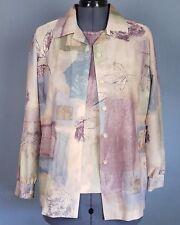 Blair Boutique Blouse Womens Short Sleeve Sheer Button Front 2 Piece Set Medium