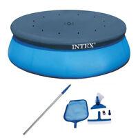 Intex Swimming Pool Maintenance Kit w Vacuum & Pole & 15 Ft Easy Set Pool Cover