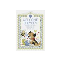 """Janlynn Counted Cross Stitch Kit 7""""x10""""-welcome Baby Boy Sampler (14 Count) -"""