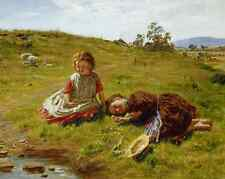 Spring by William McTaggart Art Girls Rest Sit Grass Sheep Water 8x10 Print 0885