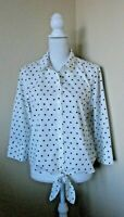 CHICO'S White with Black Polka Dots 3/4 Sleeve Button Down Bottom Tie Top Size 1