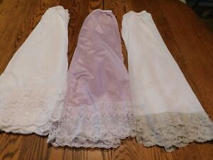 3 WOMENS LARGE UNBRANDED HALF SLIPS WHITE LAVENDER OFF WHITE ALL AROUND LACE HEM
