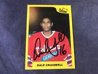 J4-15 HOCKEY CARD - DALE CRAIGWELL - AUTOGRAPHED - 1989 7th INNING SKETCH