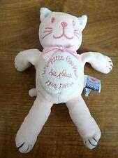 """Doudou peluche chat rose SUCRE D'ORGE """"un petit bonheur de plus sur terre"""""""