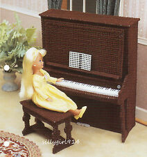 """""""PIANO & BENCH""""~Annies Attic Plastic Canvas PATTERN ONLY for BARBIE FASHION DOLL"""