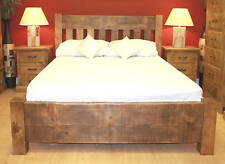 SOLID WOOD KINGSIZE BED + 2 BEDSIDES CHUNKY RUSTIC PLANK *special package price*