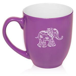 16oz Bistro Mug Ceramic Coffee Tea Glass Cup Festive Elephant