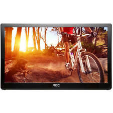 "16"" AOC E1659FWU Portable Ultra-Slim LED LCD Monitor, USB 3.0 Powered - Black"