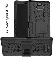 For Sony Xperia 10 Plus Case Durable Armor Full Body Protective Kickstand Black