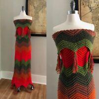 VTG Zig Zag Striped Strapless Boho Crochet 70s Granny Knit Hippie MaXi DRESS