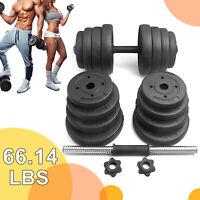 Solid Weights Dumbbells Barbell Set 66 LBS, Adjustable Dumbbells Set for Adult