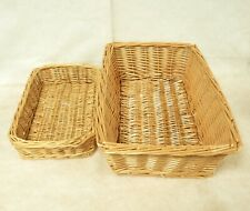 2x Small Wicker Baskets Stationary Office Make Up Shallow Tray Brown Country E63