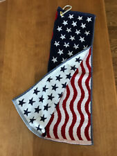 American Flag Golf Towel with Pocket Stars Stripes USA Presidents Cup Scramble